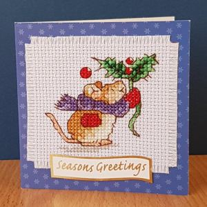 Mouse Christmas Card 'With a Sprig of Holly' in Cross Stitch - Pig Corner Cards
