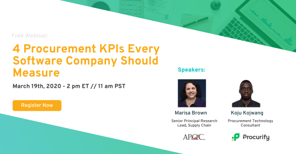 webinar details for 4 procurement KPIs every software company should measure