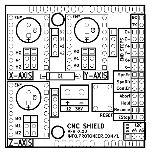 arduino cnc shield  u2013 board layout
