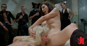Blonde whore is forced to eat pussy in front of everyone