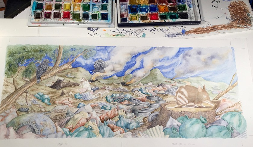 Draft illustration from Bouncing Back with watercolour paints