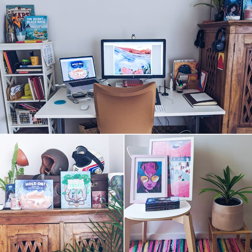 A photo collage of Rachel Tribout's studio space featuring three photos, including her desk with a monitor and laptop, next to a bookshelf; a cabinet with a selection of books and antique items on top; and a small table with brightly coloured art prints and plants.