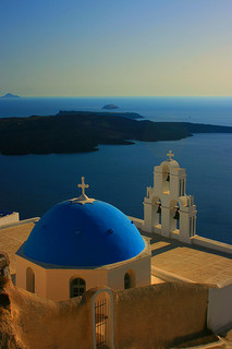 Blue dome of Santorini