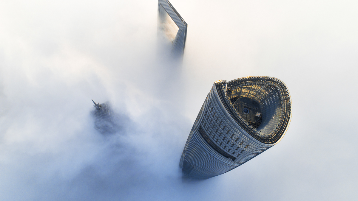 Aerial View Of Shanghai Lujiazui In Clouds