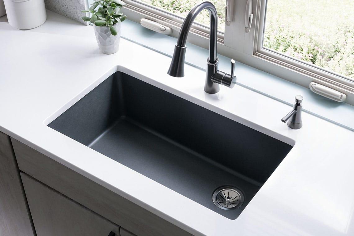 elkay kitchen sinks hood spotlight on quartz sink collections by abode