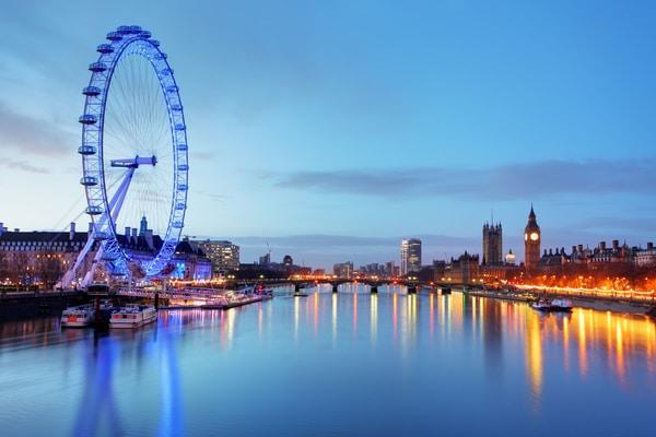 Vistas del Big Ben y London Eye, Londres