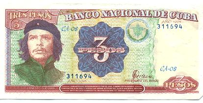 Billete de 3 pesos cubanos