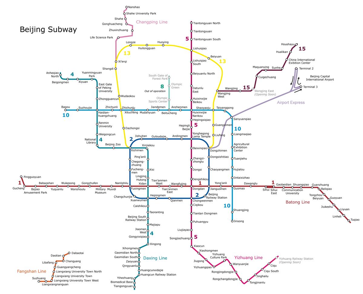 Plano del metro de Pekin