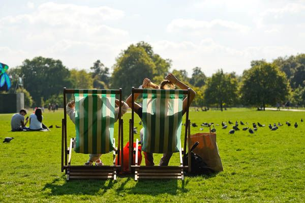 Tumbonas en Hyde Park