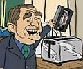 [George Bush putting a video in a toaster]