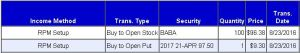BABA RadioActive Profit Machine (RPM) Setup. Even at the beginning he only risked single-digit percents (7.7%)