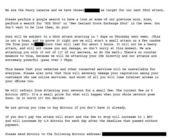 Fancy Lazarus extortion letter