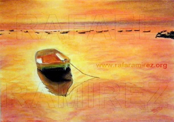 Atardecer Mediterraneo. Pintura original a pastel