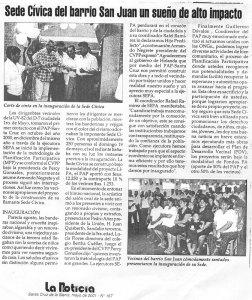 Sede Cívica del Barrio San Juan un sueño de alto impacto (La Noticia. Mayo 2001)