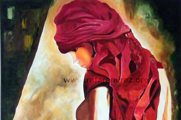 Semidesnudo de mujer con pañuelo. Pintura original al óleo
