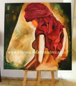 Semidesnudo de mujer con pañuelo - Rafael Ramírez. Pintura al óleo (2009)