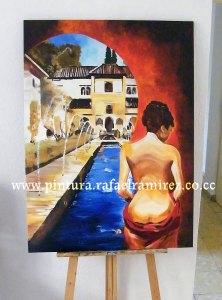 Alegoría en la Alhambra. Pintura al óleo Rafael Ramírez (2009)