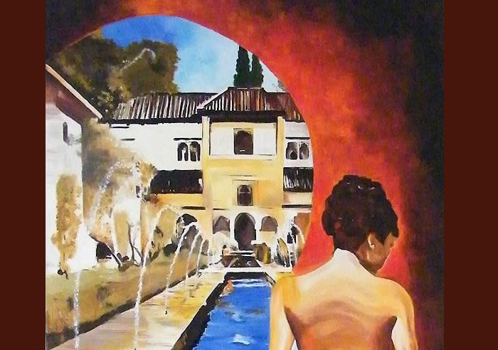 Alegoría en la Alhambra, pintura original al óleo