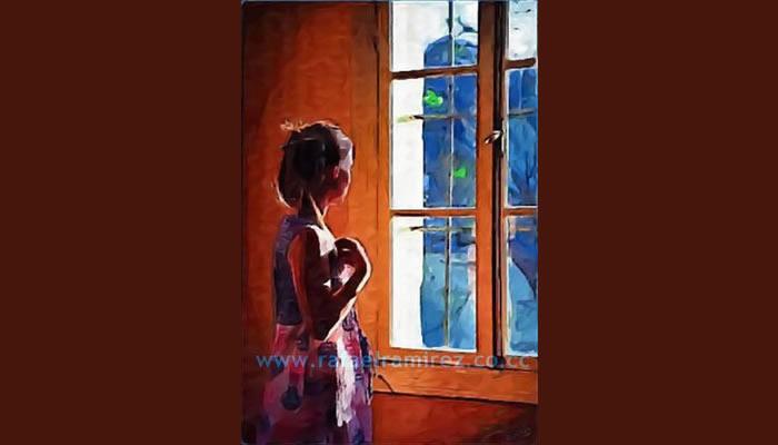 Ante la ventana, pintura al óleo