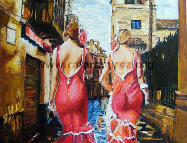 Paseo de flamencas, pintura original al óleo