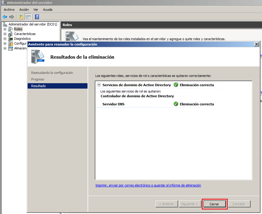 Eliminar controladores de dominio sobre MS Windows Server 2008 R2 ...