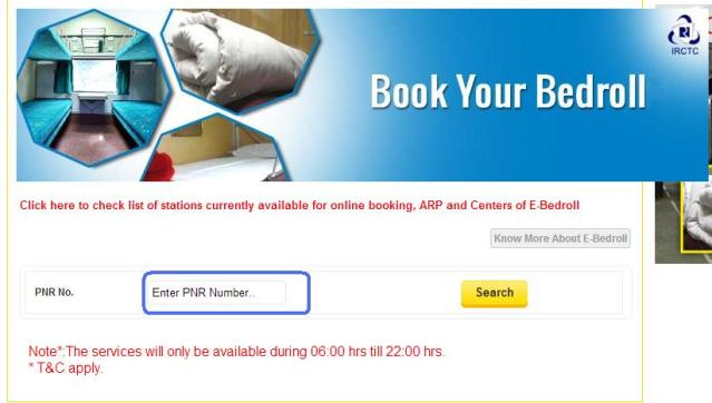 IRCTC Bedroll Booking Page