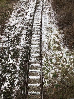 Gleise mit Schnee am Bahndamm