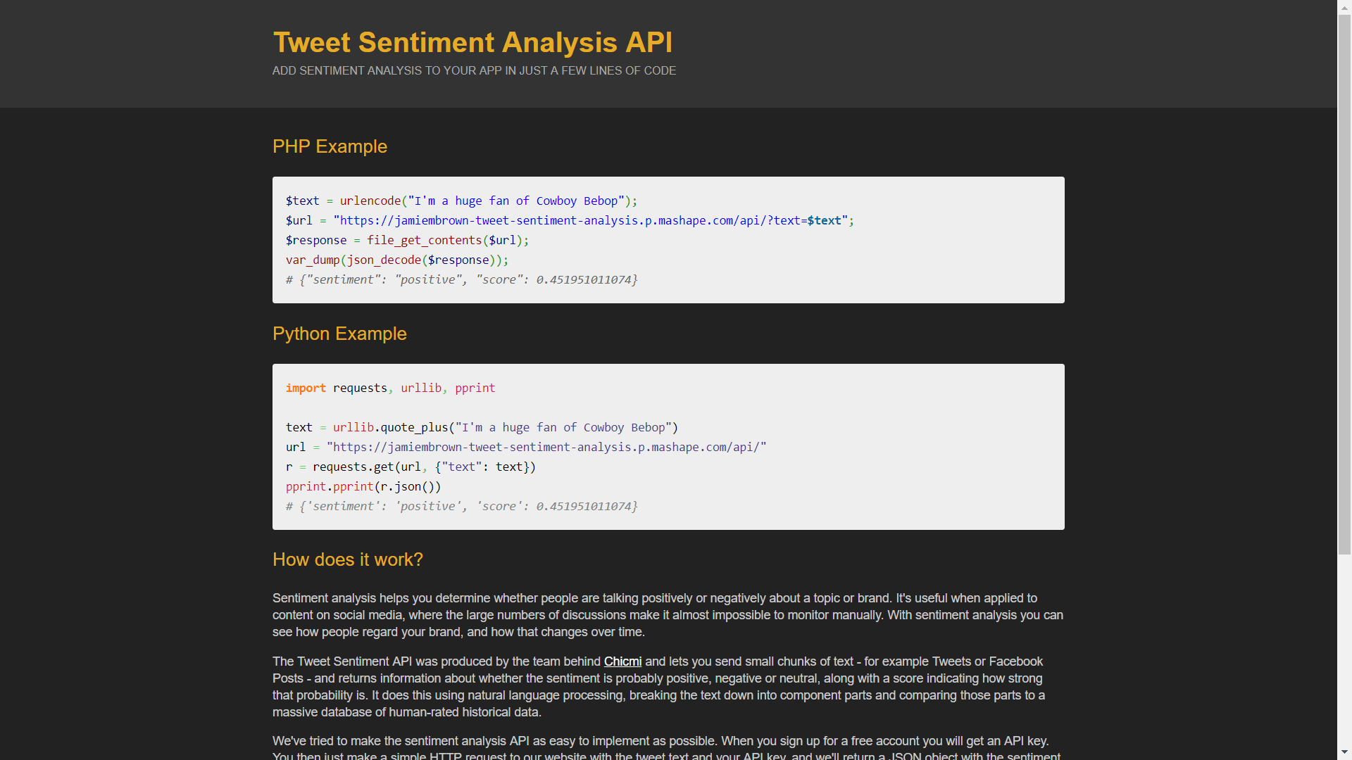Tweet Sentiment Analysis API