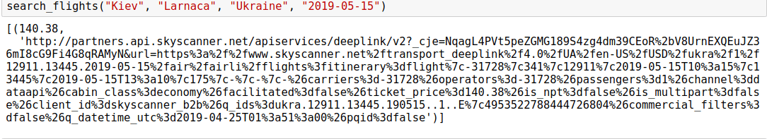 Skyscanner Flight Search API search_flights() function