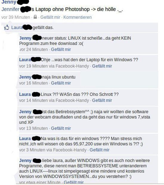 Sehr dumme Kommunikation auf Facebook