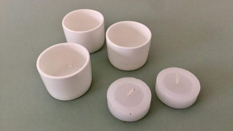 teelicht mit porzellanbehälter