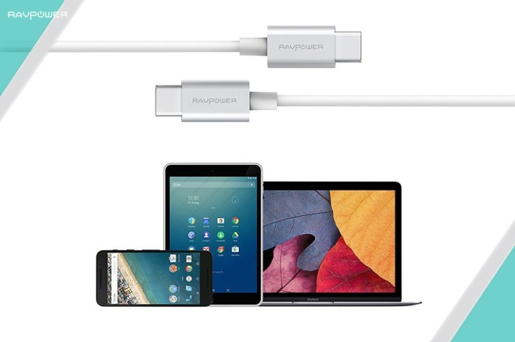 RAVPower iPhone Smartphone Tablet iPad Pro MacBook Laptop Charging Cable USB 3.1 Power Delivery