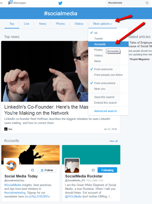 How to Sort by Accounts in Twitter Search