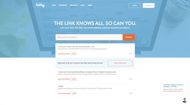 Bitly Homepage