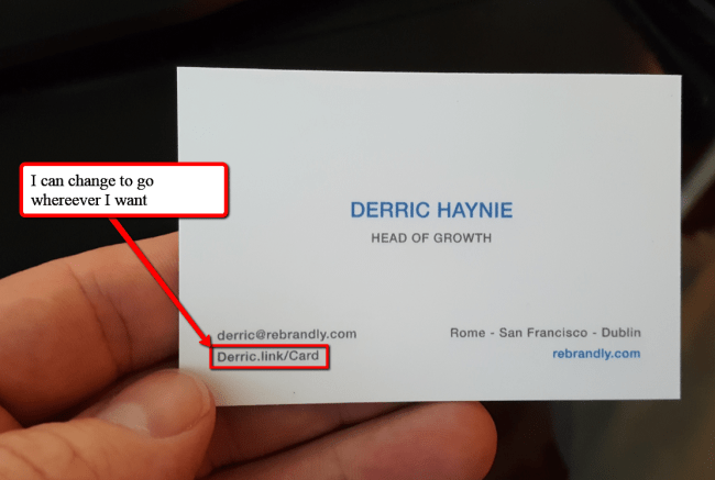 Branded Link on a Business Card