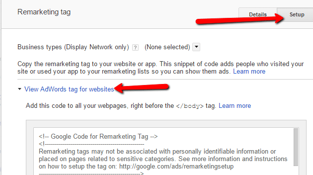 Google Remarketing Tag Code