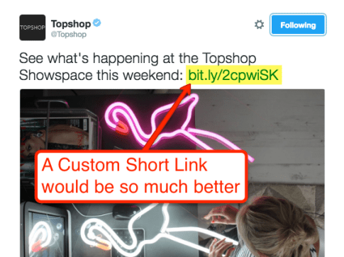 Top Shop Missed Branded Short Link with Keyword URL Slug Example