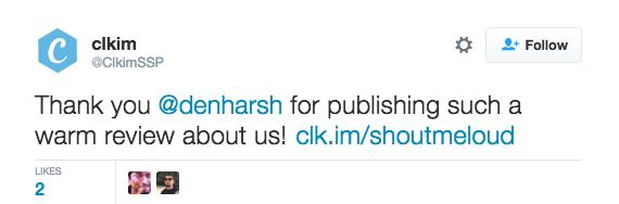 clkim Tweet with branded link