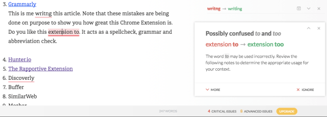 Chrome Extension Grammarly