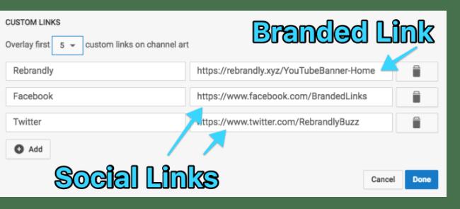links on youtube