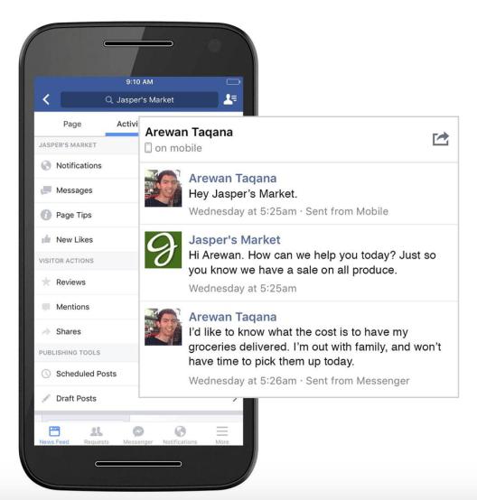 facebook Messenger, Customer service in eCommerce