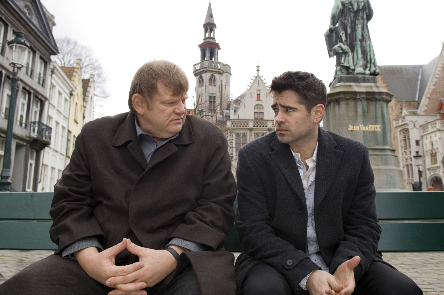 """Brendan Gleeson and Colin Farrell in the buddy movie """"In Bruges"""" from Focus Features."""