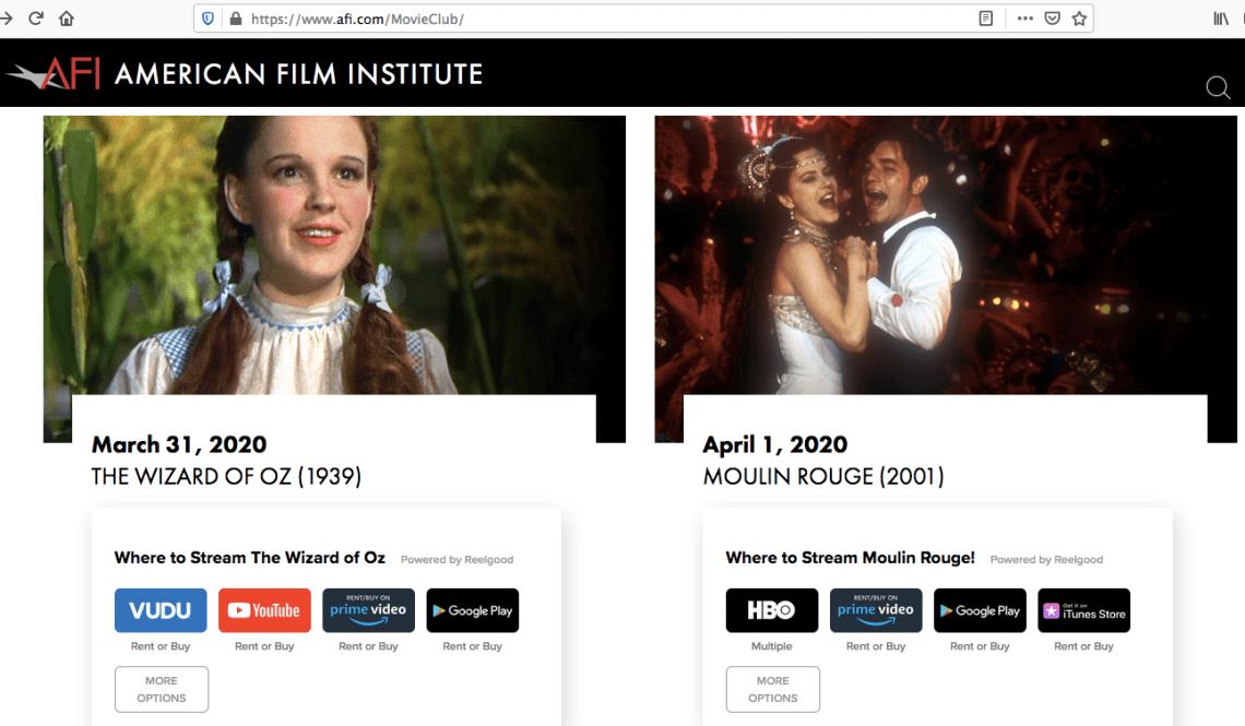 AFI Movie Club Powered By Reelgood