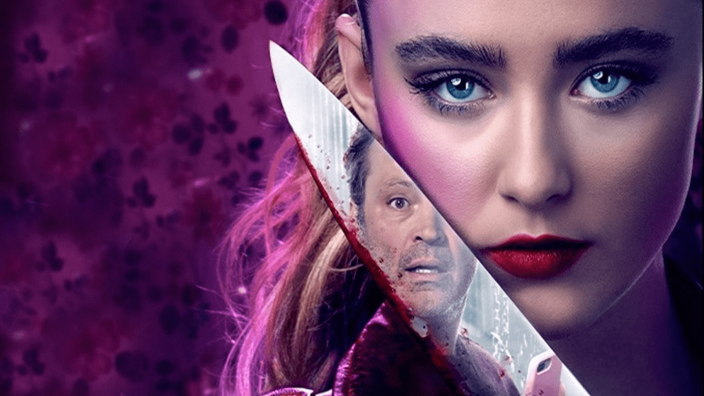 Kathryn Newton holding a knife with Vince Vaughn's face reflecting in a promotional poster for Freaky