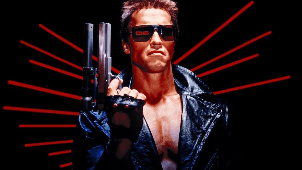 Arnold Schwarzenegger as The Terminator in James Cameron's The Terminator.