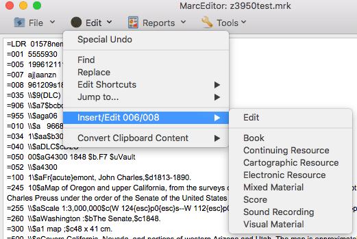 MarcEdit Mac -- Edit 006/008 Menu Location