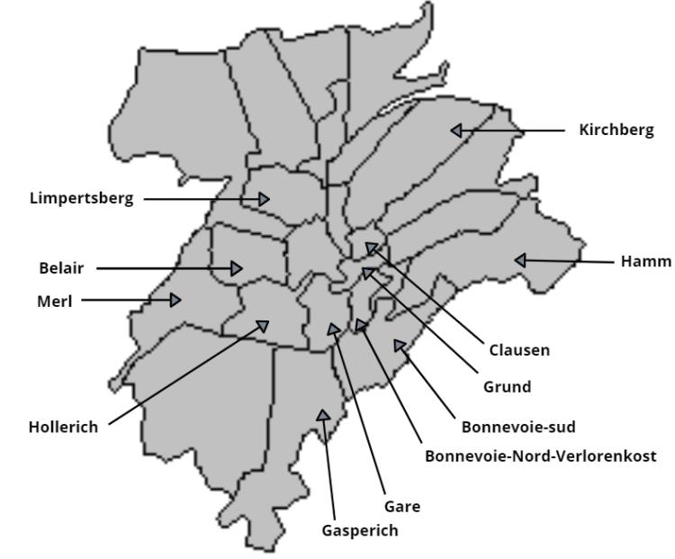 Carte Luxembourg-ville par quartier