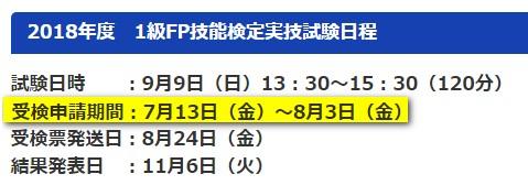日本FP協会のFP1級における試験の日程
