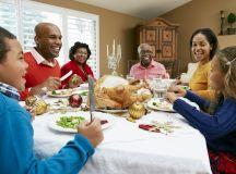 Family having a holiday meal, turkey