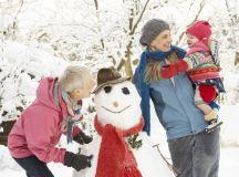Family building a snowman